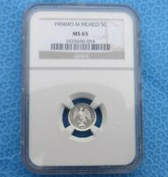 1904 MO M NGC MS 65 Mexico Silver 5 Centavos, Near Proof Like, Only 2 Higher