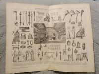 Assyrian Antiquities - Antique Book Page - c.1885 - German Text