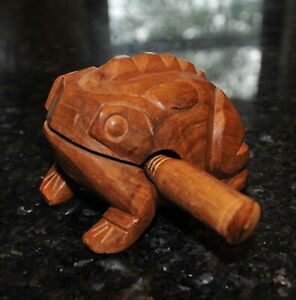 Wooden Frog Carving Hand Carved Croaker Musical Instrument Golden Teak Original