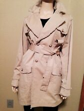 CHANEL 04P MOST WANTED BEIGE TWEED TRIM TRENCH COAT JACKET 46