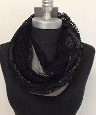 fall/winter Knit simple 2-Circle Cowl Long Infinity Scarf Wrap Soft Black/Gray
