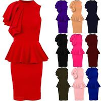 Ladies Sleeveless Ruffle Frill Shoulder Women's Peplum Bodycon Party Dress