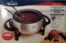 3 QUART - 8 PEOPLE STAINLESS STEEL ELECTRIC FONDUE POT BY RIVAL, NEW!