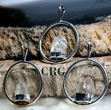 Silver Plated Ring Pendant with FIXED QUARTZ Point (PT19BT)