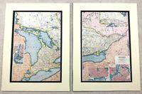 1920 Antik Aufdrücke Karte von Ontario Kanada Ottawa Toronto Niagara falls Plan