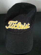 Titleist Golf Hat Cap Black Gold Stitched Letters One Sz Adjustable 100% Cotton
