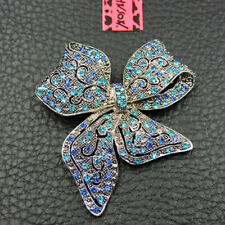 Betsey Johnson Blue Enamel Crystal Exquisite Bowknot Charm Woman's Brooch Pin