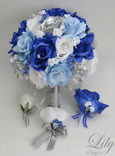 17pcs Wedding Bridal Bouquet Set Silk Flower Decoration Package Royal Blue