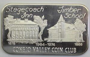 Scarce USSC-166 ,Stage Coach Inn/Timber School .999 Fine Silver Artbar, 1974