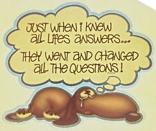Original Vintage Just When I Knew All Lifes Answers Iron On Transfer Funny Dog