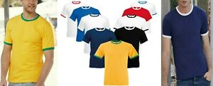 1,3,5 Pack Fruit of the Loom Mens Short Sleeve Contrast Ringer Sports T shirt BN