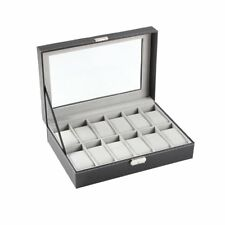 12-Slot Leather Watch Box, Gray   Great Valentines Gift