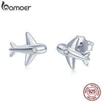 Bamoer S925 Sterling Silver Stud Earrings cute plane With CZ For Women Jewelry