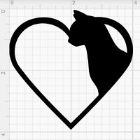 "CAT HEART Vinyl Decal Sticker3"" Car Window Wall Bumper Animal Adopt Paw Love Pet"