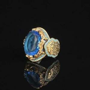 Turkish Handmade 925 Silver Sapphire Ring Women/Men Wedding Jewelry Gift Sz 6-12