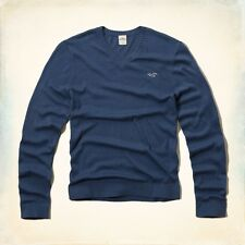 Hollister by Abercrombie Men's Huntington Beach V-Neck Sweater Large L BLUE