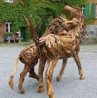 Teak Alt Holz Wurzel Pferd Löwe Skulptur Objekt Aufsteller Kunst Deko Ho.1482