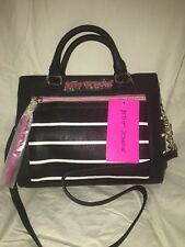 Betsey Johnson Small tote purse satchel ivory black pink w shoulder strap