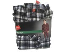 Hanes Men's Small Black/Gray/White,Woven Cotton Flannel Pajama Sleepwear Set New