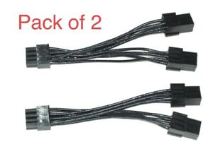 Pack of 2 EVGA PCI-Express Dual 6 Pin Female To 8 Pin Male Power Cable Adapter