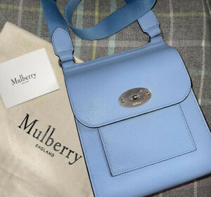 NEW Mulberry Pale Blue Small Antony Messenger Bag Satchel Anthony