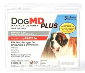 Dog MD Maximum Defense Plus Flea & Tick Topical Dogs 89 To 132 Lb 3 Month Supply