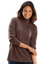 """LADIES LONG SLEEVE ROLL NECK COTTON  LYCRA QUALITY STRETCH TOPS 6"""" NECK(2217)"""