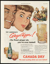 CANADA DRY GINGER-UPPER ORIGINAL 1950'S RETRO AD AMERICAN GINGER ALE ADVERT PAGE
