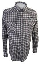 Blac Label Men flannel shirt WESTERN p2p 23 XL slim pearl snap plaid tab sleeve