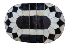 100% Authentic Egyptian Genuine Hair Cowhide Leather Patchwork Rug Carpet 49''