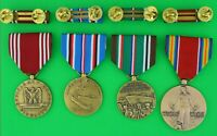 4 WWII Army Medals & Ribbon Bars for Service in Europe Campaign (ETO)