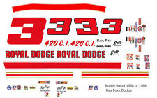 #3 Buddy Baker Royal Dodge 1968-69  Ray Fox 1/64th HO Scale Slot Car Decals