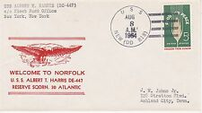 USS ALBERT T HARRIS DE-447 WELCOME USS NEW DD-818 CANCEL NAVAL SHIP EVENT COVER