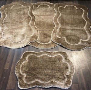ROMANY GYPSY WASHABLES SET OF TOURER SIZE 67X110CM MATS/RUGS LIGHT BROWN