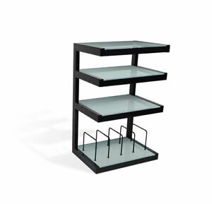Norstone Esse Hi-Fi Rack / Stand With Vinyl Storage In Black With White Shelves