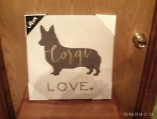 New With Tags Pembroke Welsh Corgi Wall Hanging On Canvas By Oliver 16 X 16