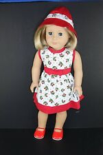 Red & White Sun Dress w/Vintage Cherry Design for 18 Inch Dolls