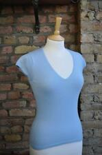 Express Design Studio V neck baby blue cap sleeve 100% cashmere jumper UK 8/10
