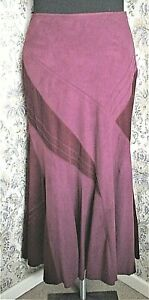 Long deep pink wine panelled skirt by PER UNA Size 12 L  Needlecord & faux suede