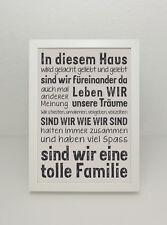 """GRAFIK """"In diesem Haus.. *wir eine tolle Familie ... Poster Print Druck Schrift"""