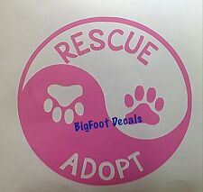 Pet Decal Rescue Adopt Ying Yang With Paw Prints Cat Dog Shelter Animals Sticker