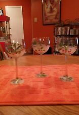 Block Frosted Hand Painted. Wine Goblets