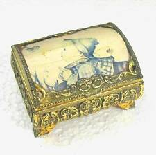 """Metal chest music box with picture top 3""""x2.4""""x1.75&#0 34; Japan á´¶ G3"""