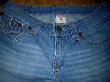 Girls Teens TrueReligion 5PocketButtonZip Sz28 BlueDis Long Shorts  GUC