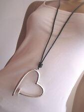 Modekette Bettelkette Damen Hals Kette Leder Lagenlook lang XL Silber Herz L201
