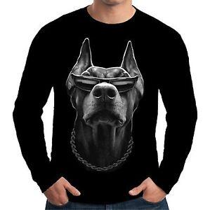 Velocitee Mens Long Sleeve T Shirt Cool Doberman Gangster Mafia Thug Dog A15047