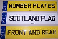Número de coche placas 1 par de placas de registro completo con insignia de Escocia