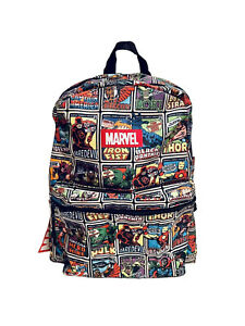 "NEW Marvel Comics Kid's Avengers Superhero Print Backpack School Tote Bag  16"" H"
