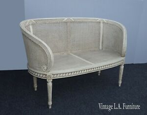 Vintage French Provincial Louis XVI Rococo Off White Cane Settee Loveseat
