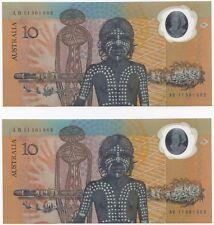 Australia 'Johnston - Fraser' Bi-Centennial $10 (1988), Consecutive Pair. UNC